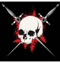 skull and dagger black vector image vector image