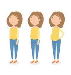 Three different stages of pregnancy vector