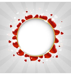Valentines Day With Hearts And Sunburst With Bokeh vector image vector image
