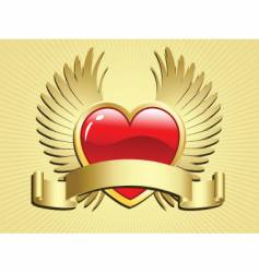 winged heart with scroll vector image