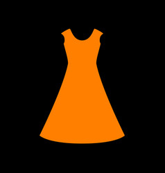beautiful long dress sign orange icon on black vector image vector image