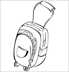 Black and white contour luggage bag vector image vector image