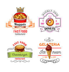 fast food symbols with burger donut and ice cream vector image vector image