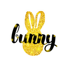 gold easter bunny greeting vector image