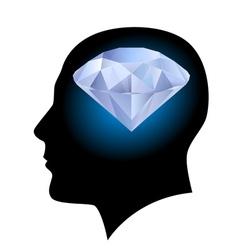 Man head and diamond vector image vector image