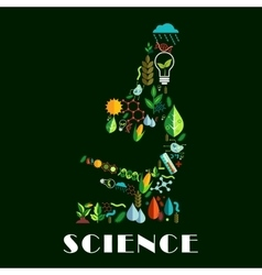 Science emblem combined of color flat icons vector image