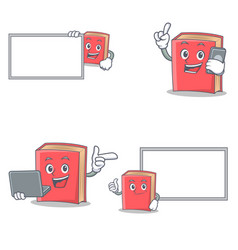 Set of red book character with board phone laptop vector