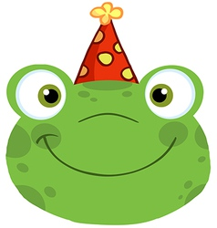 Frog Smiling Head With Birthday Hat vector image vector image