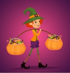 Girl in Halloween costume with hat magician vector image