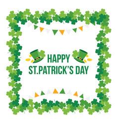 happy stpatricks day shamrock clover frame vector image vector image