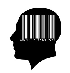 Head of a man with a barcode vector image vector image