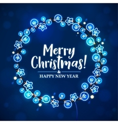 Merry Christmas and New Year Garland Light Design vector image