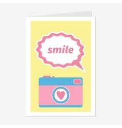 Photo Camera in flat design style Pink heart Text vector image vector image