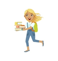 School Girl With Books Running To Class vector image vector image
