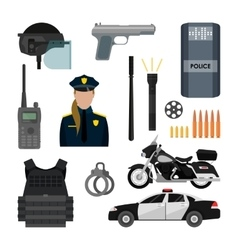 set of police objects and equipment vector image vector image