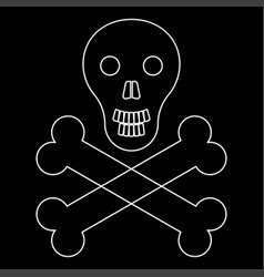 skull and bones the white path icon vector image vector image