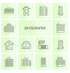 14 skyscraper icons vector