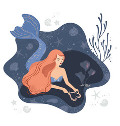 a mermaid in love on the vector image