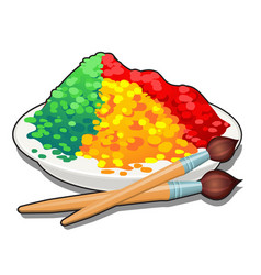 A set colored food dyes in a plate and two vector