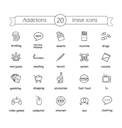 Addictions linear icons set vector