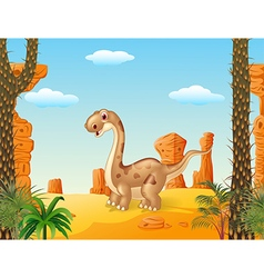 Adorable cute dinosaur with prehistoric background vector