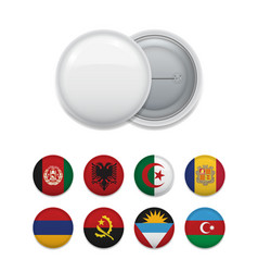 Arrange of country flags with badge vector