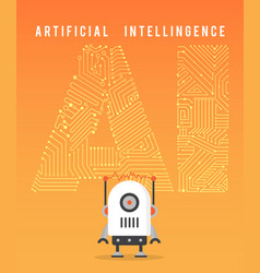 Artificial intelligence and modern robot vector