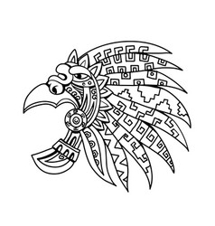 Aztec feathered headdress drawing black and white vector
