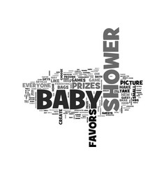 Baby shower prizes and favors text word cloud vector