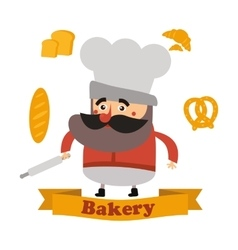 Baker and cake in format vector