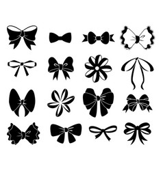 black bow flat ribbons for birthday greeting vector image