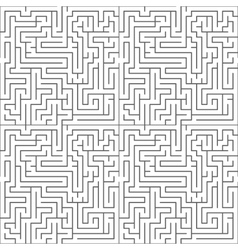 Black maze on white seamless pattern vector image