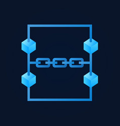 Blue blockchain modern icon on dark vector