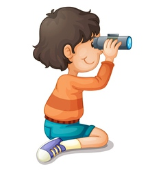 Boy using binoculars vector