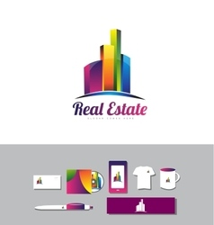 Building skyscraper real estate logo vector