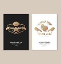 Butcher meat shop badge or label with turkey and vector
