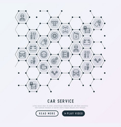 Car service concept in honeycombs vector