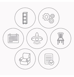 Chair ceiling lamp and armchair icons vector image