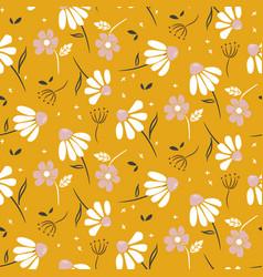 chamomile mustard yellow flowers modern pattern vector image
