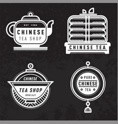 chinese tea logo badge vector image