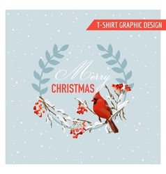 Christmas Winter Birds and Berries Graphic Design vector image