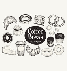 Coffee break dessert set hand drawn vector