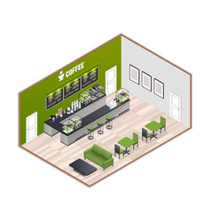Coffee house isometric interior vector