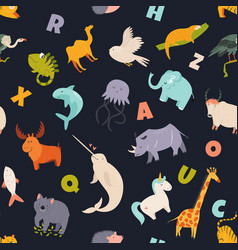 Colorful seamless pattern with cute funny animals vector