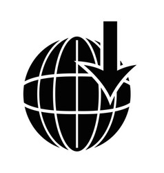 contour global symbol with arrow down vector image