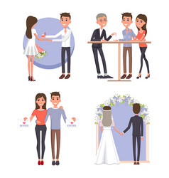 Couple gets ready for big wedding ceremony set vector