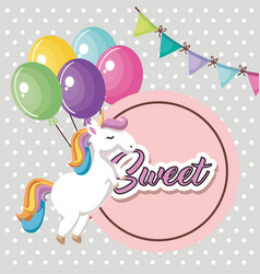 Cute unicorn with balloons air kawaii character vector