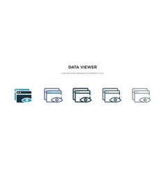 Data viewer icon in different style two colored vector