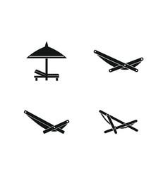 Deckchair icon set simple style vector