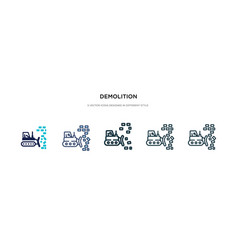 Demolition icon in different style two colored vector